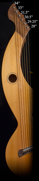 String lengths for S-12 Harp Guitar