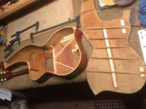 Knutsen harp guitar bracing repaired
