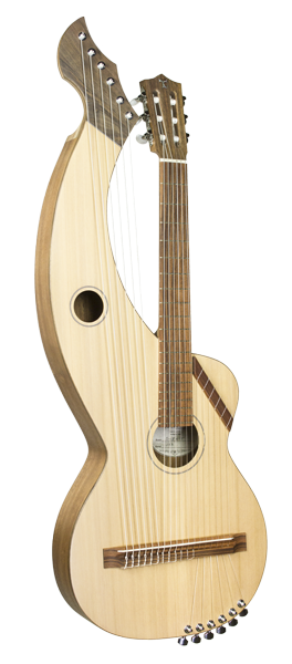 Nylon string harp guitar with super trebles